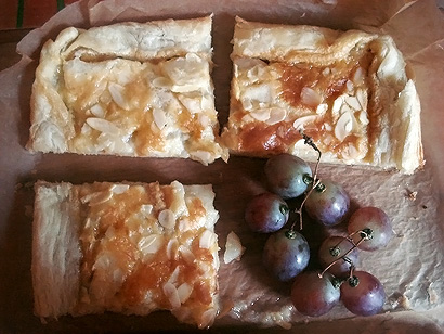 Pear Cake and Grapes