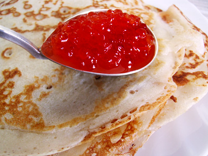 Tsar Blinis with Red Caviar