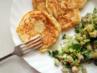 Cheese Pancakes and Celery and Walnut Salad
