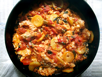Italian Style Haddock with Zucchini and Tomatoes in a Skillet