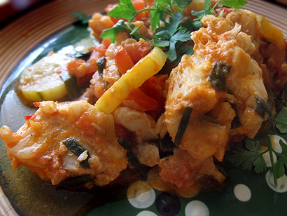 Italian Style Haddock with Zucchini and Tomatoes