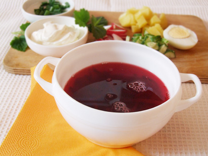 Ingredients for cold beetroot soup