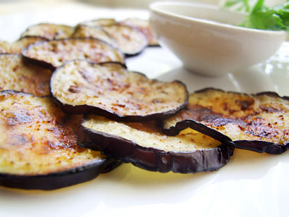 Fried Eggplant with Sour Cream Garlic Dip