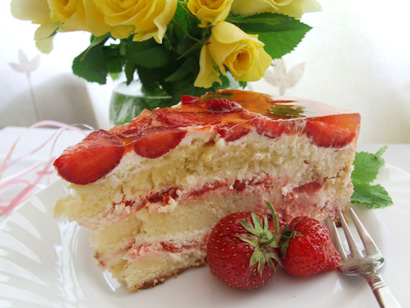 Strawberry Glazed Sponge Cake with Strawberries and Whipped Cream