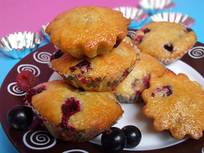 Raspberry Strawberry Blackcurrant Muffins