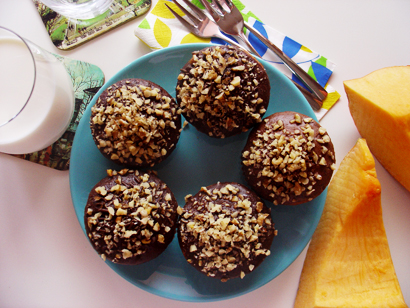 Chocolate Coated Pumpkin Cottage Cheese Muffins
