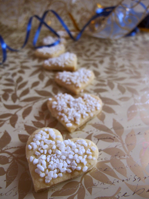 Heart-shaped cookies with pearl sugar