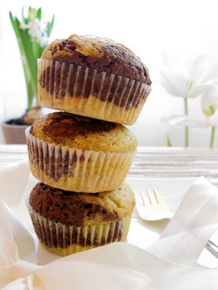 Banana Chocolate Swirl Muffins