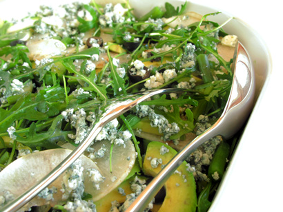 Green Bean Avocado Arugula Salad with Chinese Pear
