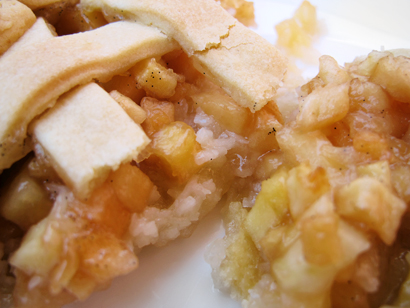 Apple Coconut Lattice Pie Closeup